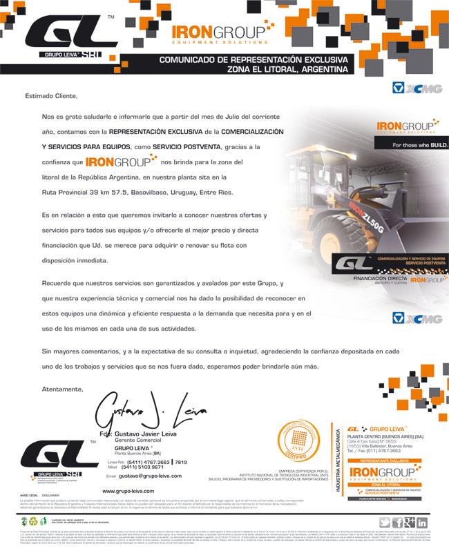Carta Representación IronGroup
